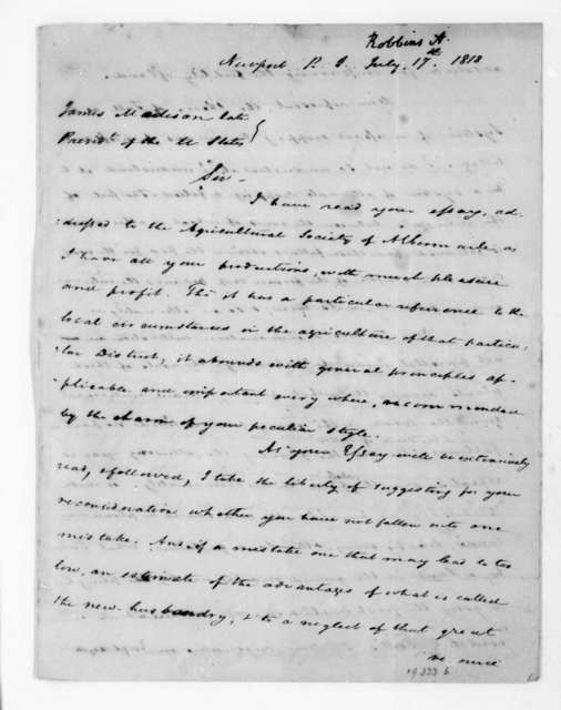 Asher Robbins to James Madison, July 17, 1818.
