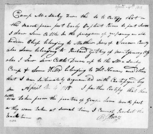 B. G. Gray to Andrew Jackson, April 4, 1818