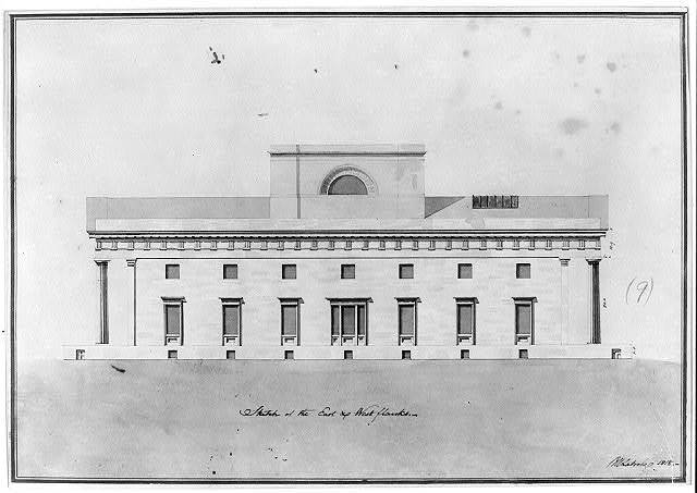 "[Bank building (""2nd Bank of the United States""), Philadelphia, Pennsylvania. Sketch of east & west flanks]"