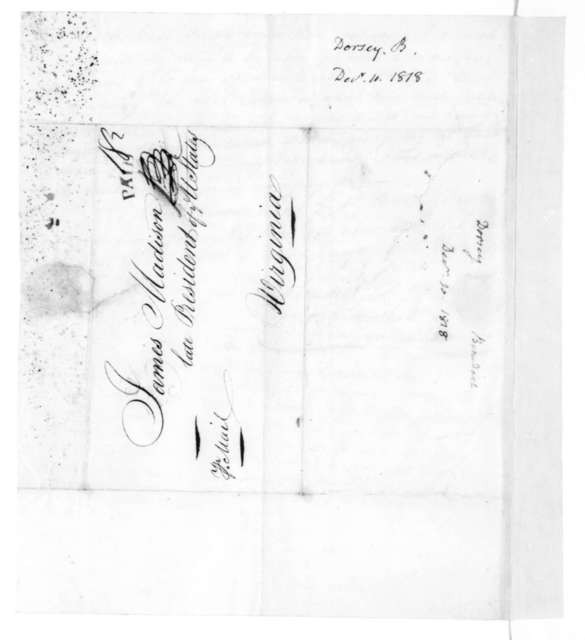Benedict Dorsey to James Madison, December 10, 1818.