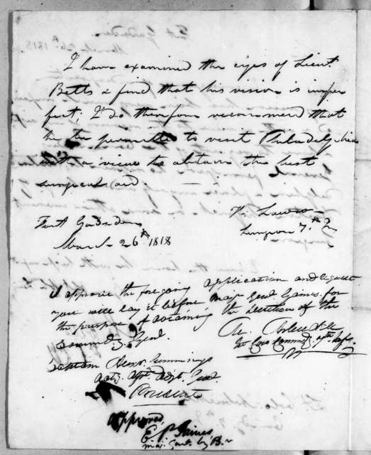 Charles Betts to Mathew Arbuckle, March 26, 1818