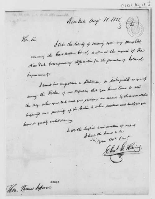 Charles G. Haines to Thomas Jefferson, August 18, 1818