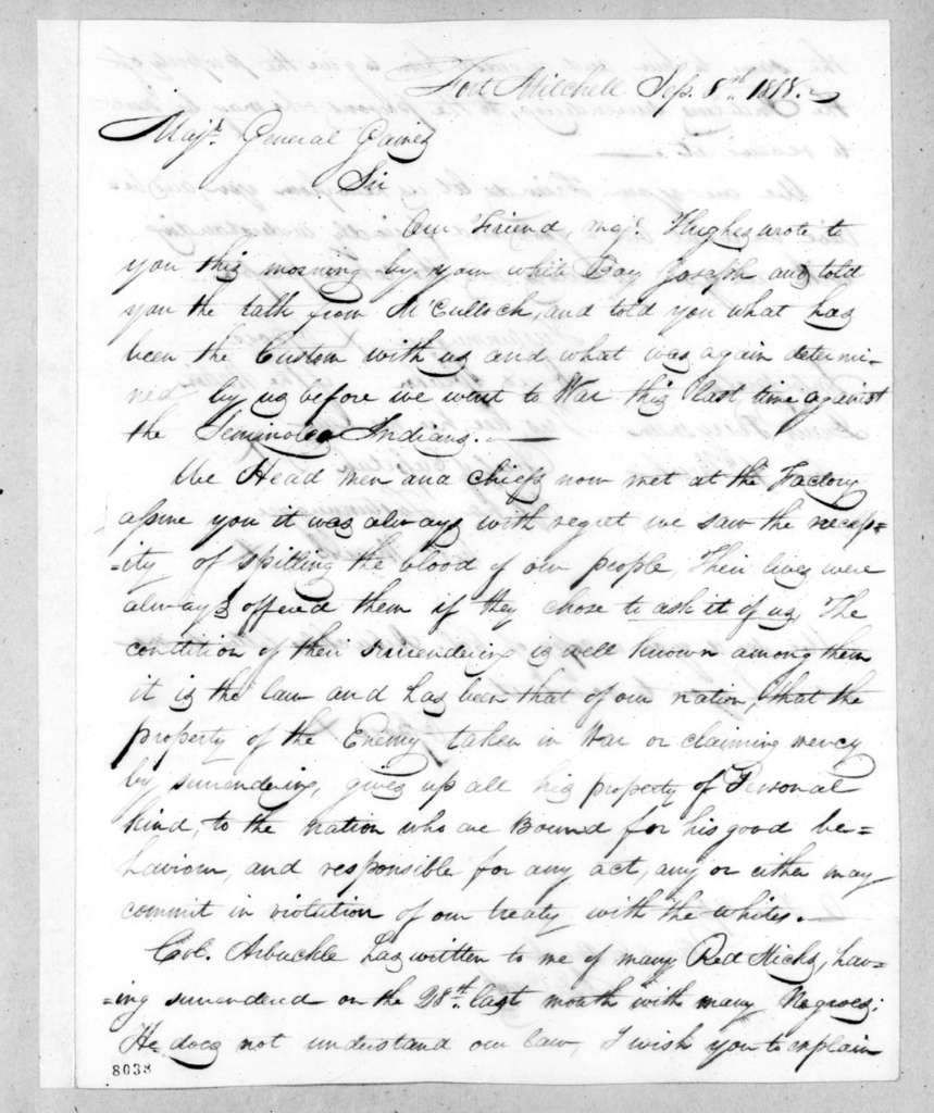 Chiefs of the Creek Nation to Edmund Pendleton Gaines, September 8, 1818