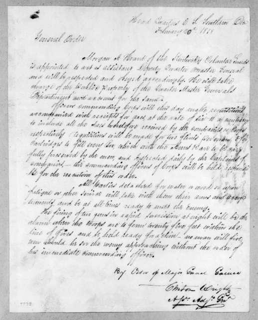 Clinton Wright, February 20, 1818