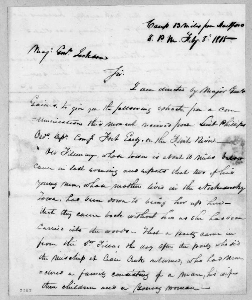 Clinton Wright to Andrew Jackson, February 8, 1818