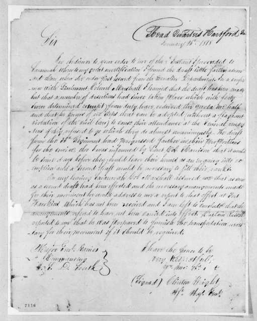Clinton Wright to Edmund Pendleton Gaines, January 26, 1818