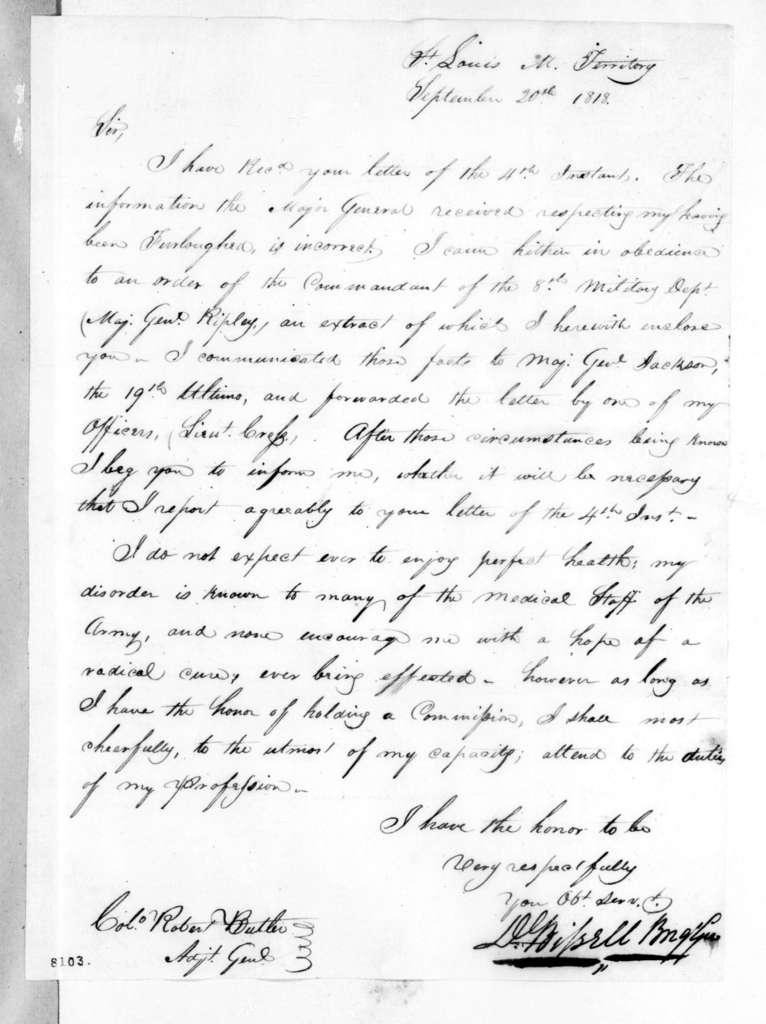 Daniel Bissell to Robert Butler, September 20, 1818