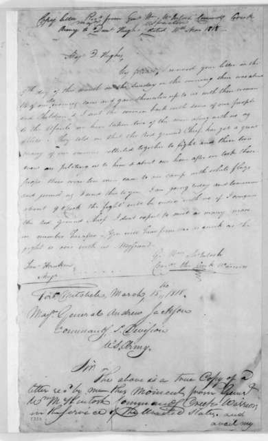 Daniel Hughes to Andrew Jackson, March 15, 1818