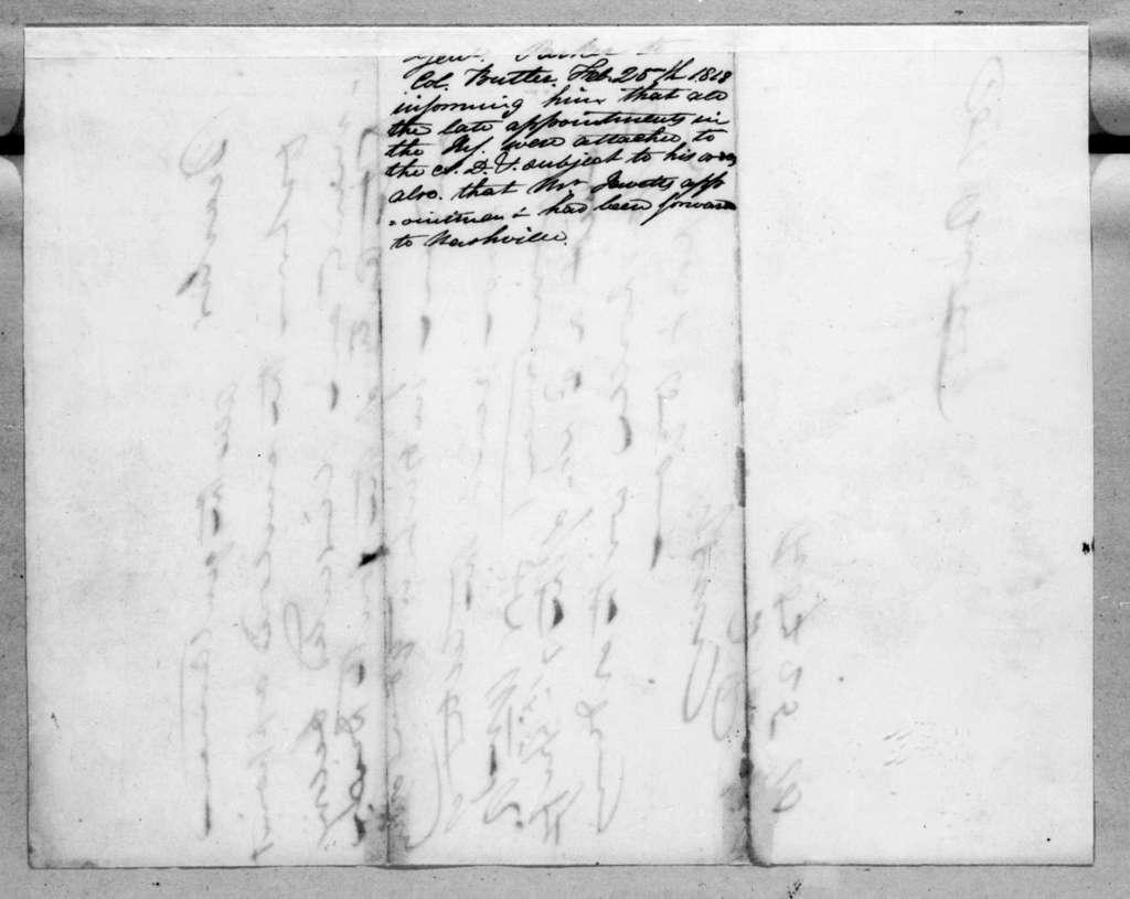 Daniel Parker to Robert Butler, February 25, 1818
