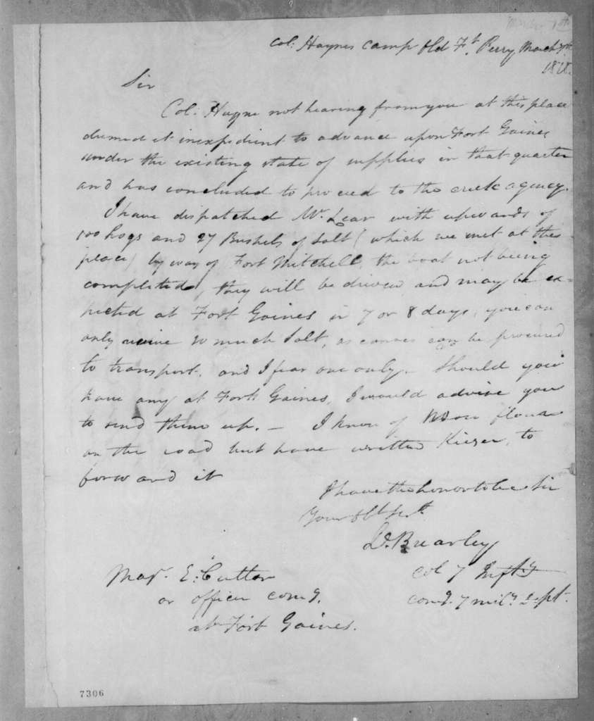 David Brearley to Enos Cutler, March 7, 1818