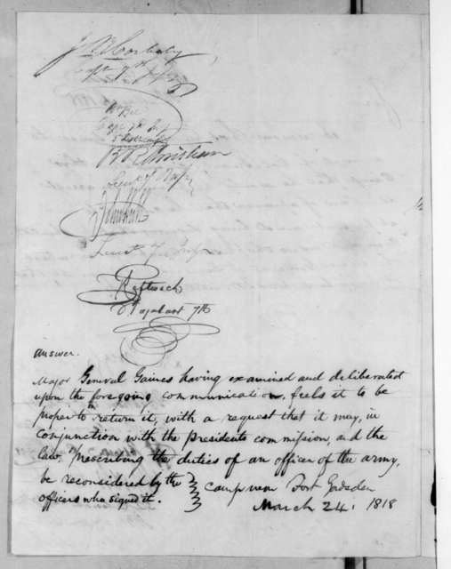 David E. Twiggs et al. to Edmund Pendleton Gaines, March 24, 1818
