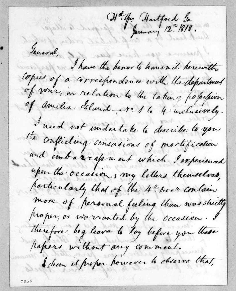 Edmund Pendleton Gaines to Andrew Jackson, January 12, 1818