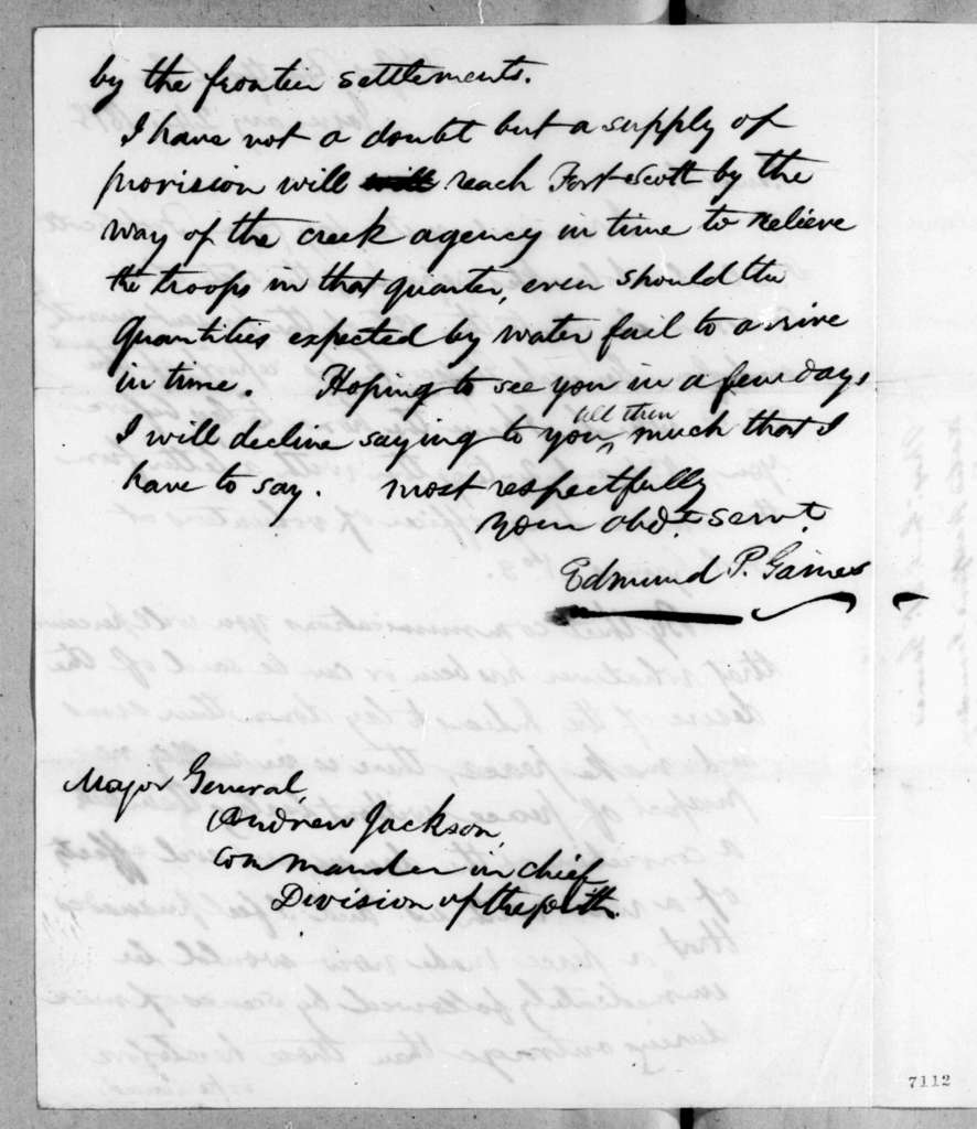 Edmund Pendleton Gaines to Andrew Jackson, January 24, 1818