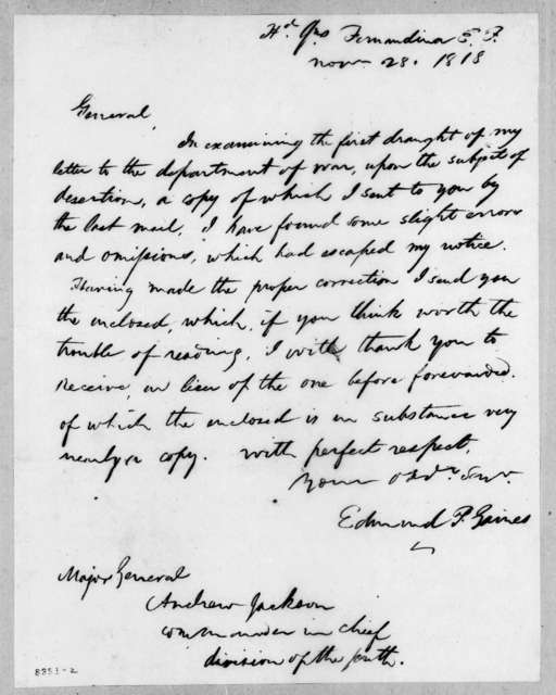 Edmund Pendleton Gaines to Andrew Jackson, November 28, 1818