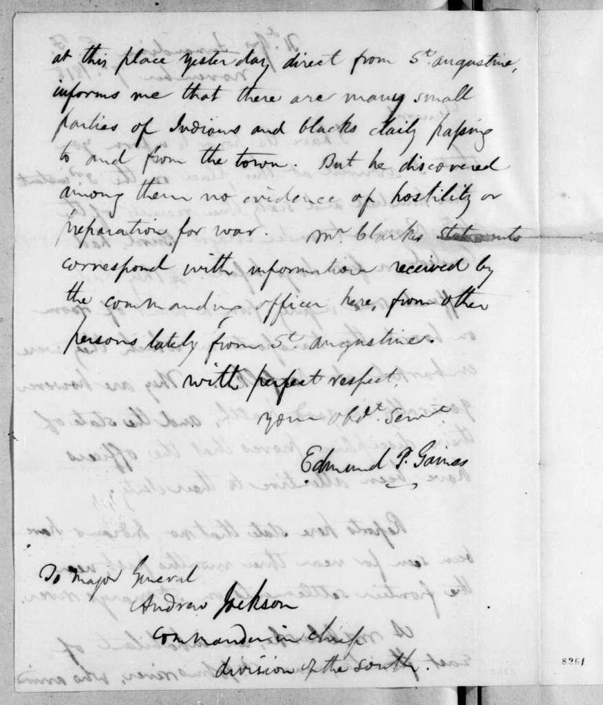 Edmund Pendleton Gaines to Andrew Jackson, November 7, 1818