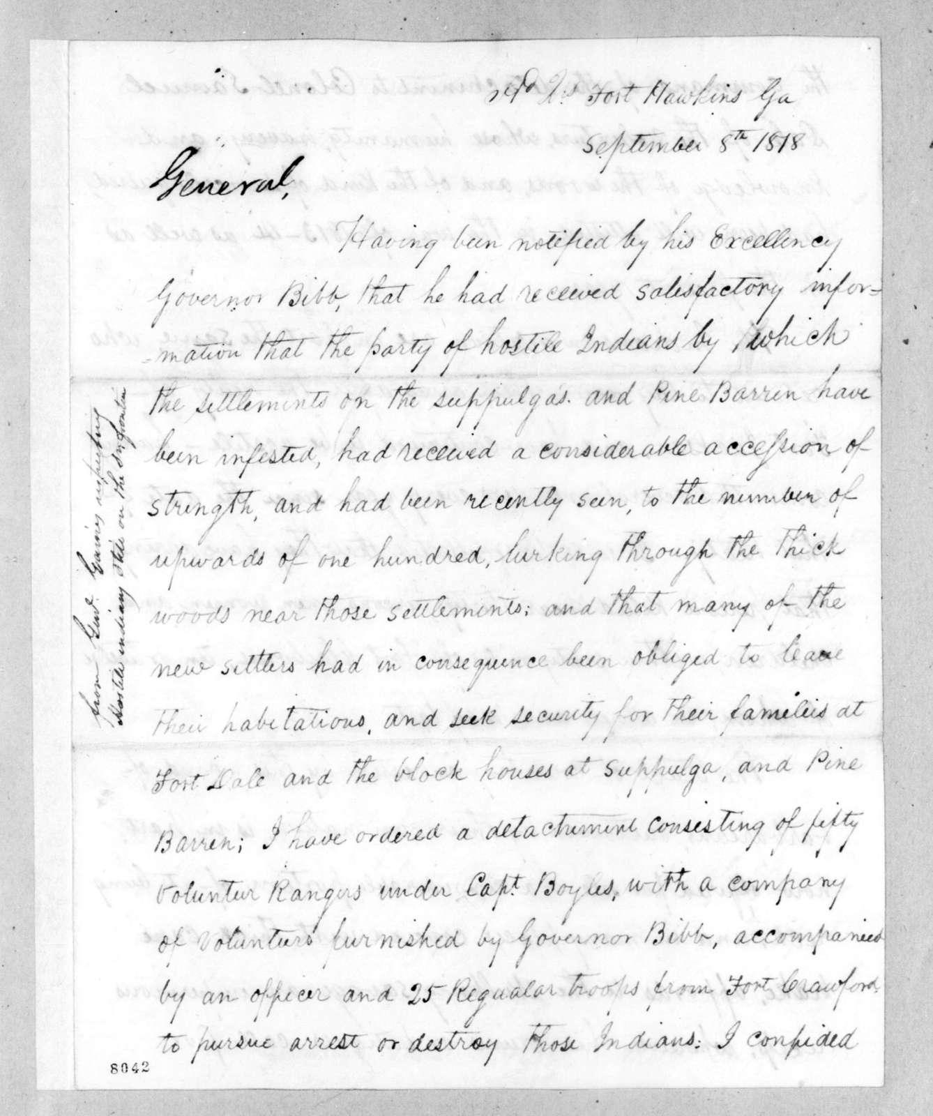 Edmund Pendleton Gaines to Andrew Jackson, September 8, 1818