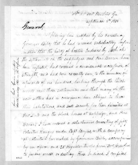 Edmund Pendleton Gaines to Andrew Jackson, September 8, 1818