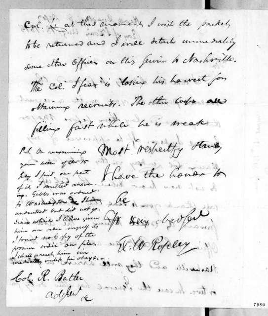 Eleazar Wheelock Ripley to Robert Butler, August 18, 1818