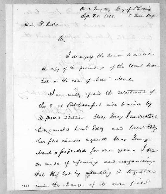 Eleazar Wheelock Ripley to Robert Butler, September 22, 1818