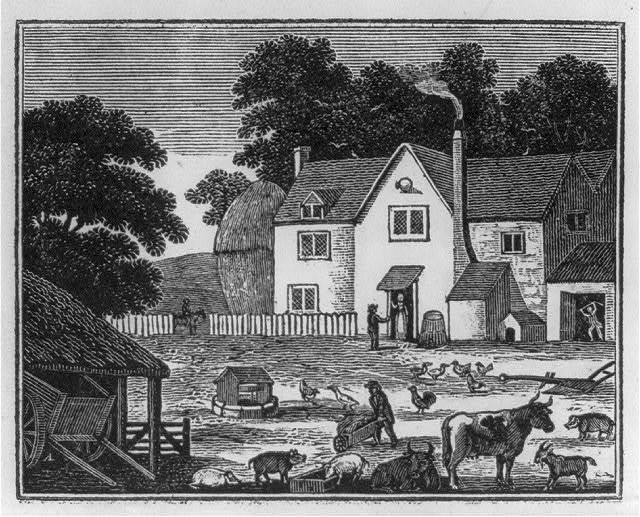 [Farm scene showing house, animals, people working]