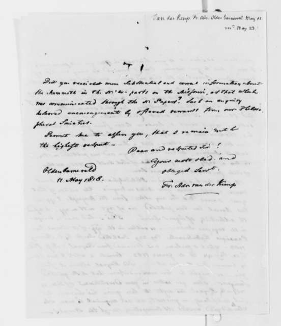 Francis A. van der Kemp to Thomas Jefferson, May 11, 1818