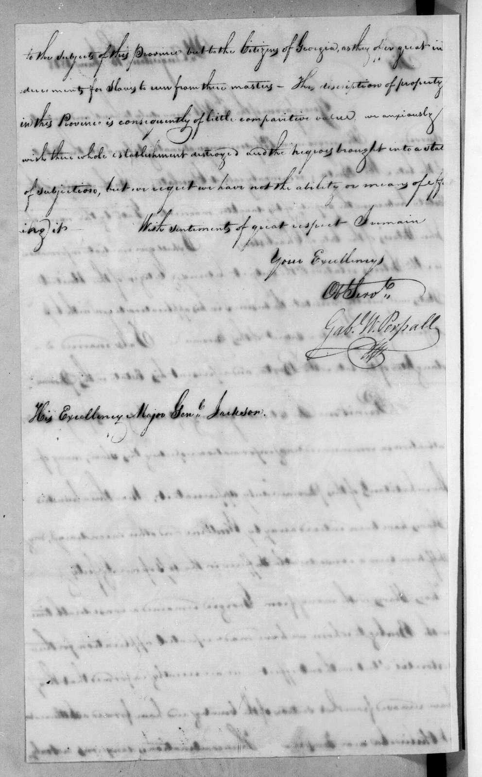 Gabriel William Persall to Andrew Jackson, June 16, 1818