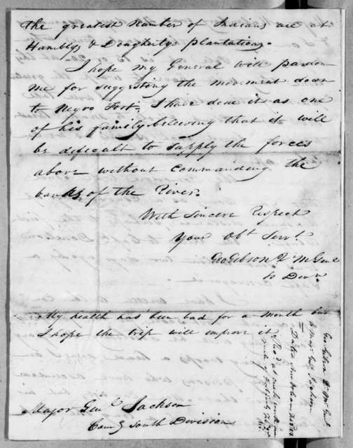 George Gibson to Andrew Jackson, February 2, 1818