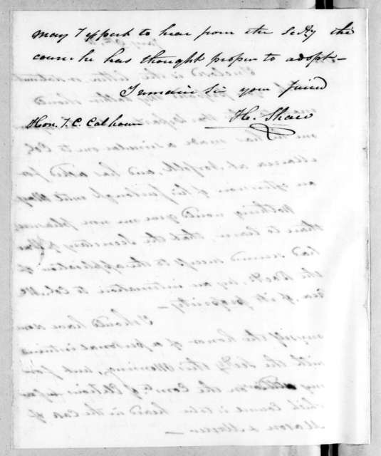 Henry Shaw to John Caldwell Calhoun, January 10, 1818
