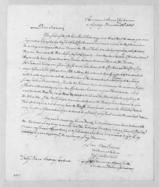 Henry Sherburne to Andrew Jackson, December 12, 1818