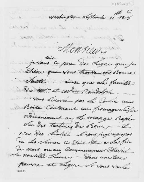 Honore Julien to Thomas Jefferson, September 11, 1818, in French