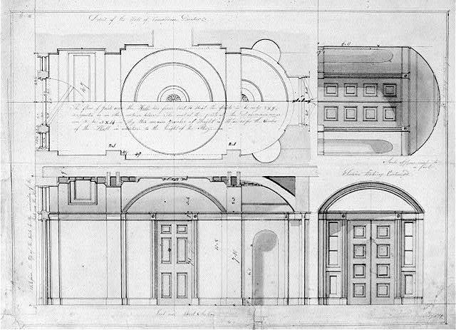 "[House (""Decatur House"") for Commodore Stephen Decatur, 748 Jackson Place, N.W., Washington, D.C. Hall section, door elevation, and reflected ceiling]"