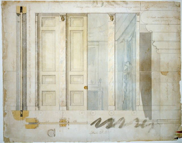 "[House (""Decatur House"") for Commodore Stephen Decatur, 748 Jackson Place, N.W., Washington, D.C. Sliding door elevation and pilaster capital]"
