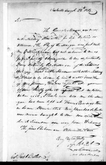 Howell Tatum to Robert Butler, August 28, 1818