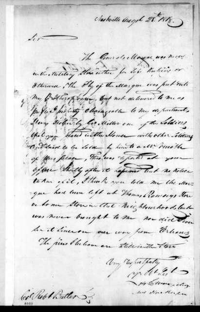 Howell Tatum to Robert Butler, August 28, 1818