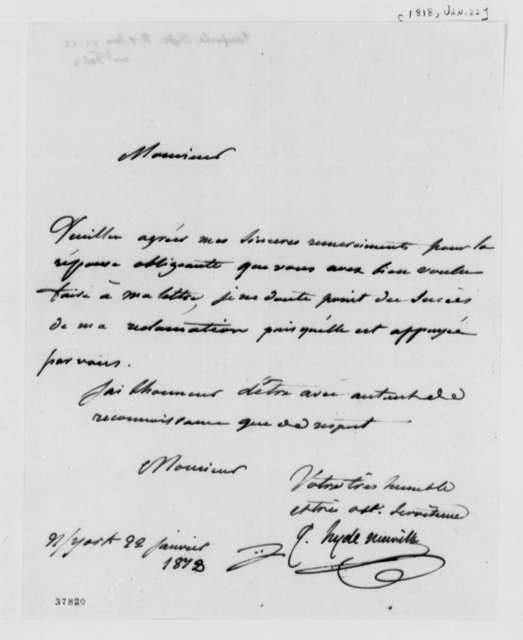 J. G. Hyde de Neuville to Thomas Jefferson, January 22, 1818, in French