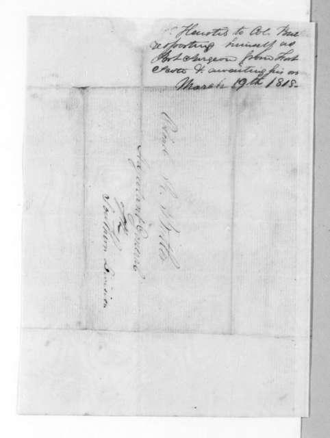 Jabez Wiggins Heustis to Robert Butler, March 19, 1818