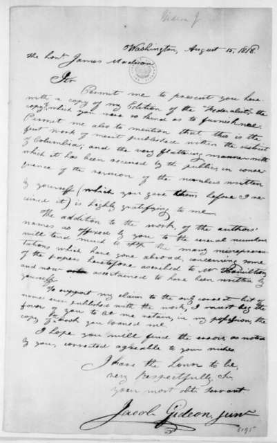 Jacob Gideon, Jr. to James Madison, August 15, 1818.