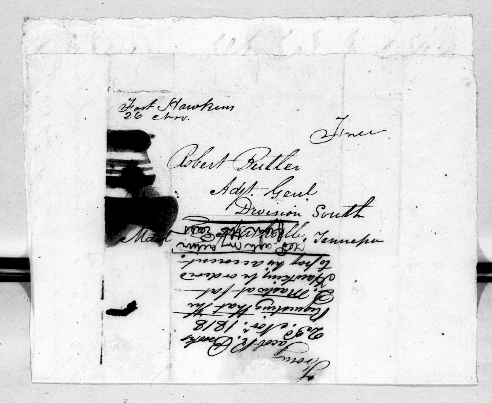Jacob R. Brooks to Robert Butler, November 23, 1818