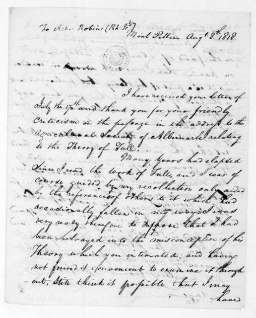 James Madison to Arthur Robbins, August 8, 1818.