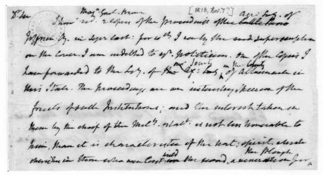 James Madison to General Brown, November 7, 1818.
