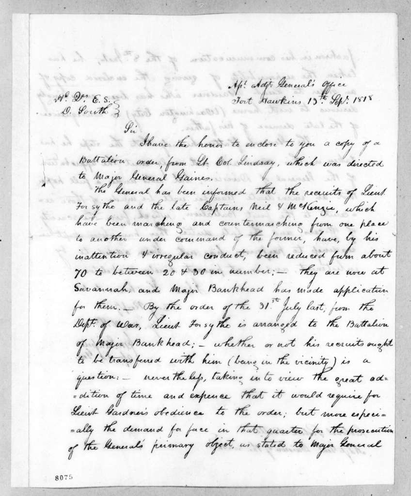 James McMillan Glassell to Robert Butler, September 13, 1818