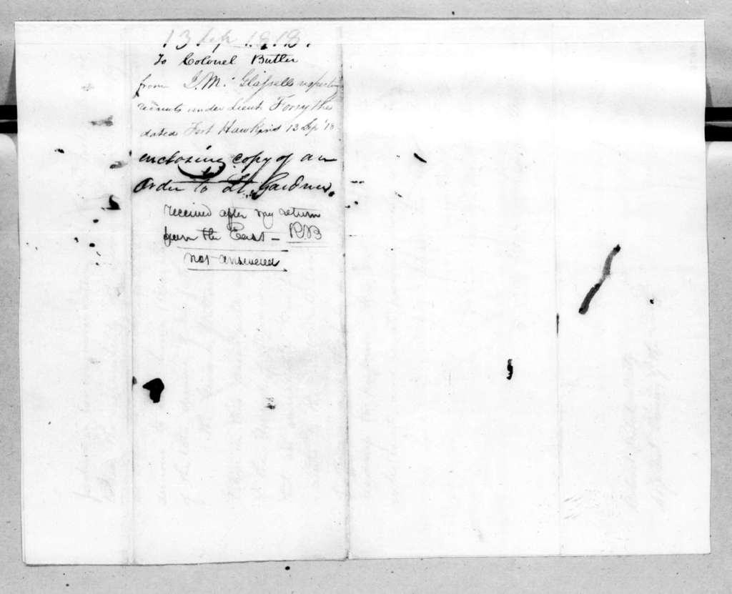 James McMillan Glassell to Robert Butler, September 13, 1818