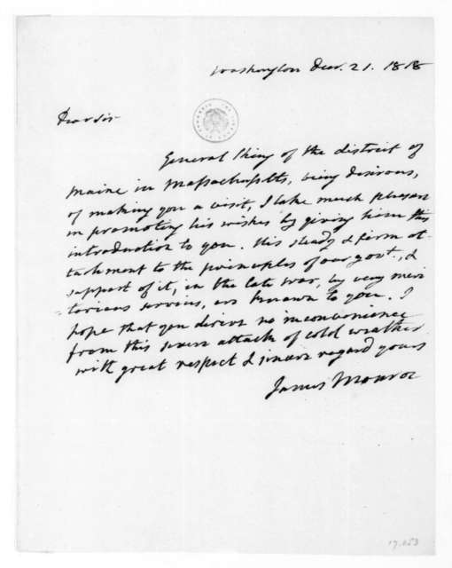 James Monroe to James Madison, December 21, 1818.