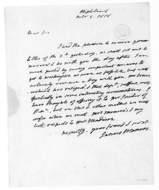 James Monroe to James Madison, October 5, 1818.