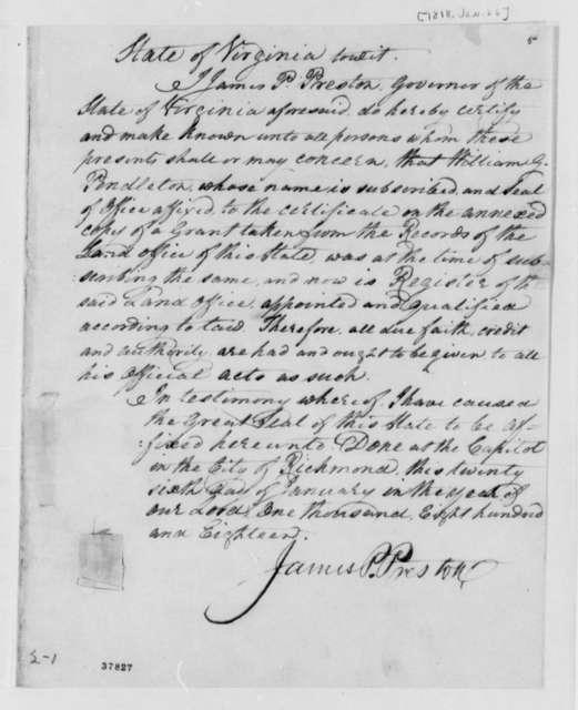James P. Preston, January 26, 1818, Certificate of Land Grant