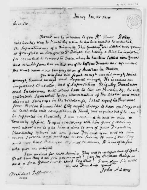 John Adams to Thomas Jefferson, January 28, 1818