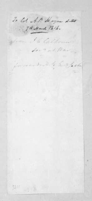 John Caldwell Calhoun to Arthur Peronneau Hayne, March 7, 1818