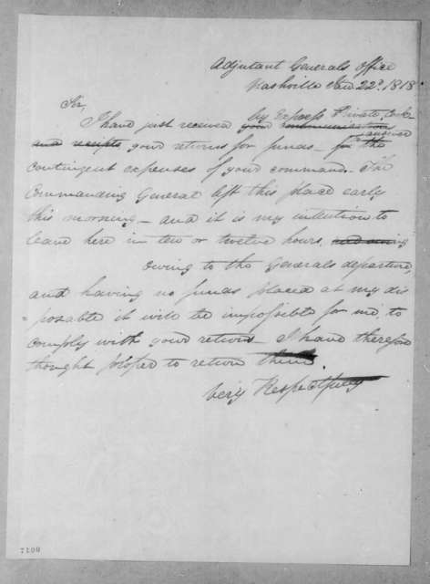 John Caldwell Calhoun to Edmund Pendleton Gaines, January 22, 1818