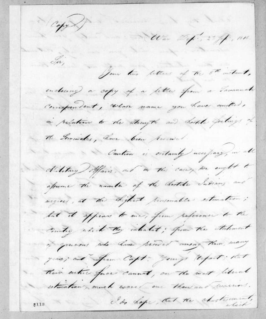 John Caldwell Calhoun to Edmund Pendleton Gaines, September 23, 1818