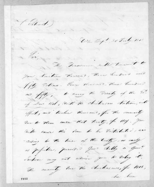 John Caldwell Calhoun to Henry Sherburne, July 30, 1818